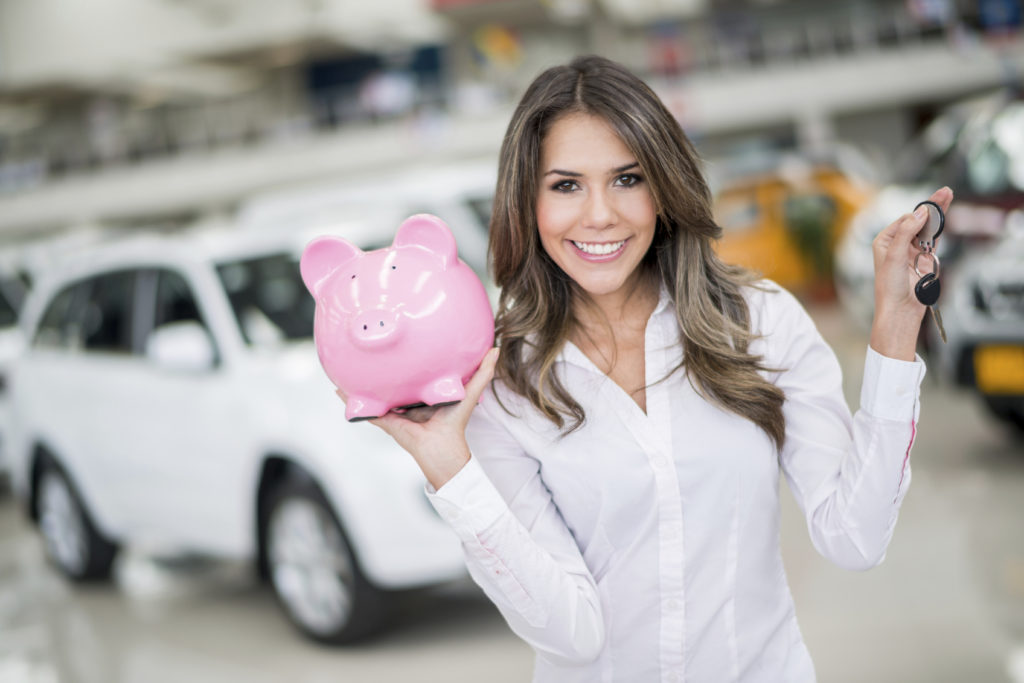 Woman saving for buying a new car